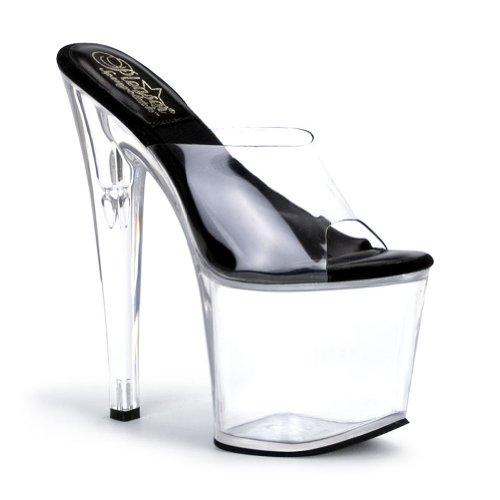 7 1 2 inch high platform slip on shoe open toe clear