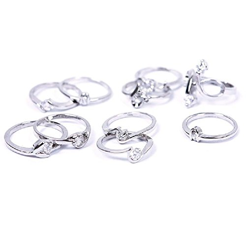 Fashion Woman Wholesale Lots 10pcs Mixed Silver Zircon Diamond Rings Set 03