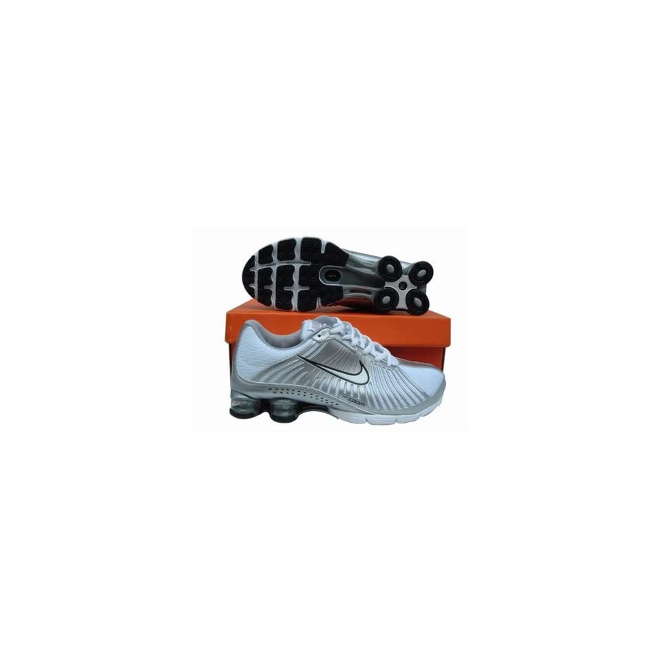 the latest 50925 8e867 Nike Shox R4 White Silver Running Shoe Men,