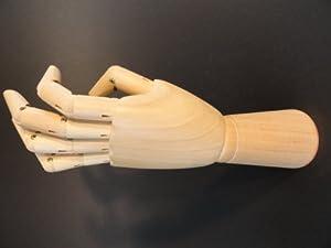 Artist articulated wooden left hand