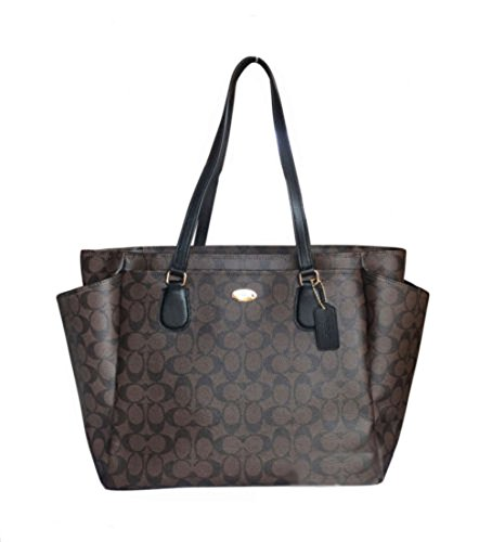 Coach F35414 Large Diaper Tote Travel Bag Coated Canvas Brown Black $495