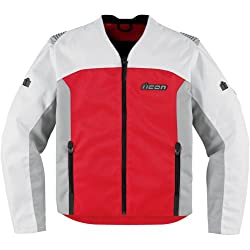 Icon Device Men's Textile Street Bike Racing Motorcycle Jacket - Red