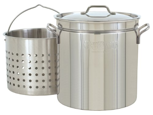 Bayou Classic 1124 24-Quart All Purpose Stainless Steel Stockpot with Steam and Boil Basket (Fish Fry Pot And Basket compare prices)