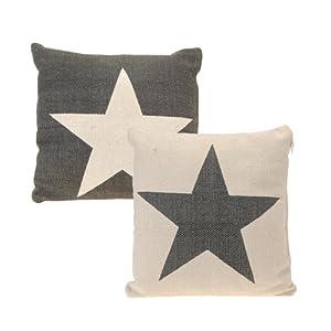 2er set deko kissen stern grau weiss und weiss grau 45 cm. Black Bedroom Furniture Sets. Home Design Ideas