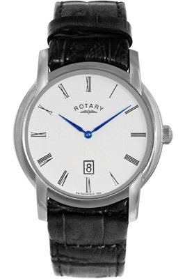 Rotary Gents Black Textured Leather Strap Watch GS02580/01