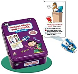 Famous Words and Proverbs Fun Deck Cards with Secret Decoder - Super Duper Educational Learning Toy