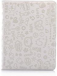 KolorFish iLove Cartoon Love Prints Funky Designer Leather Book Type Case Cover for Apple iPad 2, iPad 3, iPad 4 White