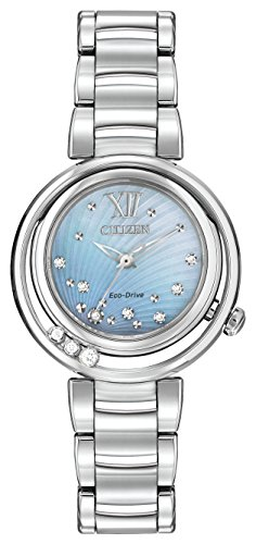 Citizen L Sunrise Diamond Women's Quartz Watch with Mother of Pearl Dial Analogue Display and Silver Stainless Steel Bracelet EM0320-59D