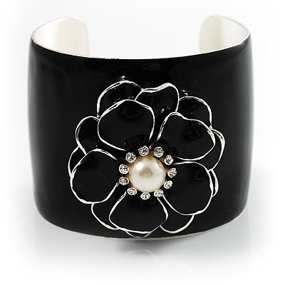 Black Chunky Enamel Flower with Pearl & Crystals Fashion Metal Cuff Bangle