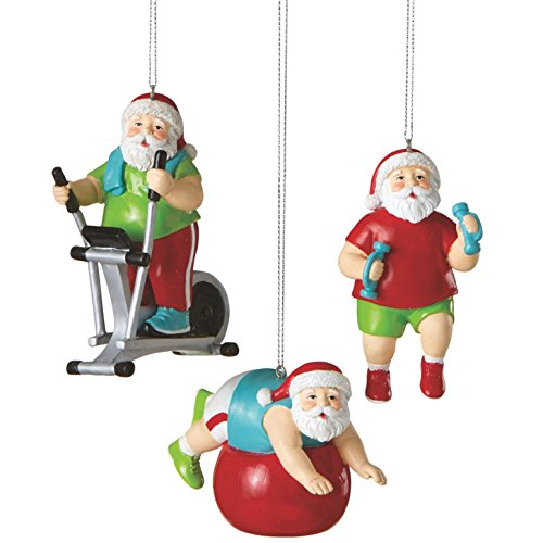 Santa Shaping Up Fitness Minded Christmas Holiday Ornaments Set of 3