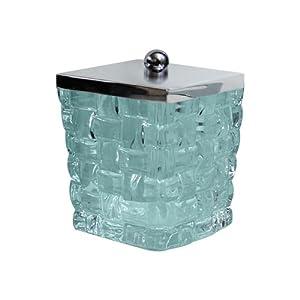 Nu Steel Cotton Swab Container Aqua Glass