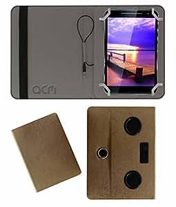 Acm Portable Rotating Music Speaker & Cover For Vizio Vz-K02 Tablet Flip Case Stand Golden