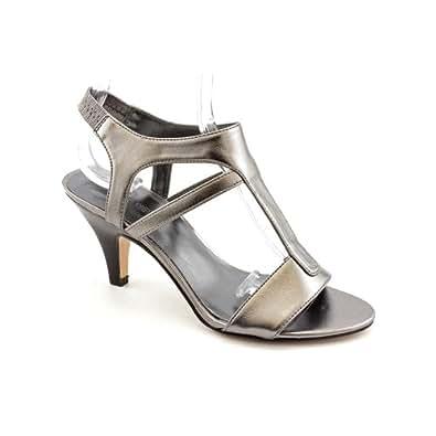 nine west best in show womens gray open toe leather dress