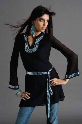 black synthetic ladies kurta  kurti / tops / tunics / dresses