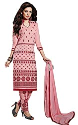 Sanvan Peach Cotton Embroidered Salwar Suit Dupatta Material_SV177SF