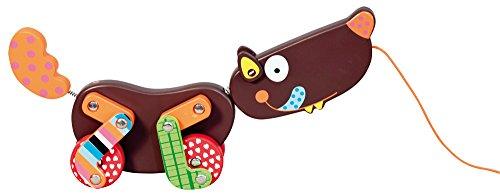 Crazy Cuddly Wolf Wood Push-n-Pull Toy