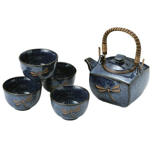 Find Cheap Japanese Dragonfly Tea Pot and Tea Cups Set in Blue - 5 Pieces