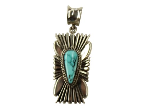 Ron Bedonie, Number Eight Turquoise Pendant, Filed Sterling Silver, Navajo