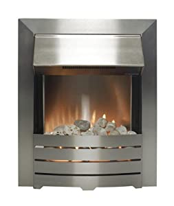 The Adam Helios Brushed Steel Electric Fire with Pebble Bed Glow Effect by Adam by Home Discount