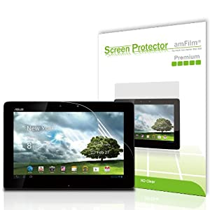amFilm (TM) Premium Screen Protector Film Clear (Invisible) for Asus Transformer TF300 (2-Pack) [in AM retail packing]