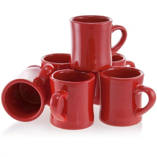 Diner Coffee Mugs Red Set of 6 (Coffee Cup Set Red compare prices)