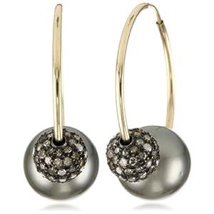 Samira 13 Tahitian Pearl & Diamond Hoop Earring