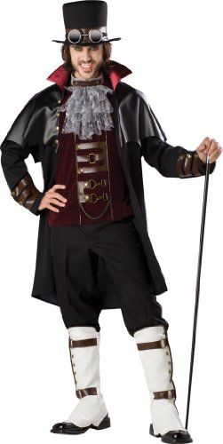 InCharacter Costumes Boy's Steampunk Vampire Costume, Black/Red, Large