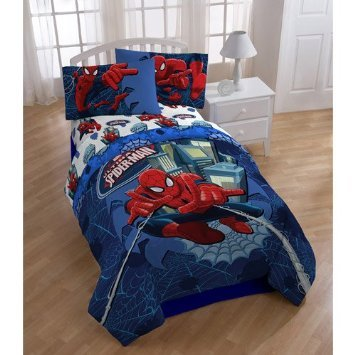Marvel Ultimate Spiderman Full or Twin Comforter & Sheet Bedding Set Spider-Man