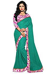 AAR VEE Sea Green Plain Lace Border Saree