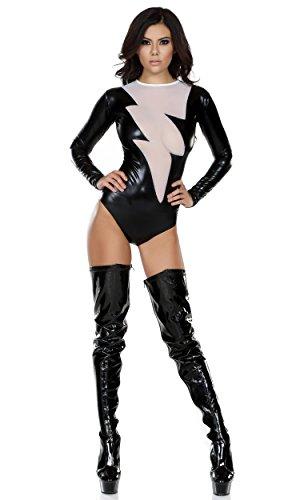 [Forplay Women's Metallic Bodysuit with Mesh Lightning Bolt Inset, Black, Medium/Large] (Lightning Bolt Costumes)