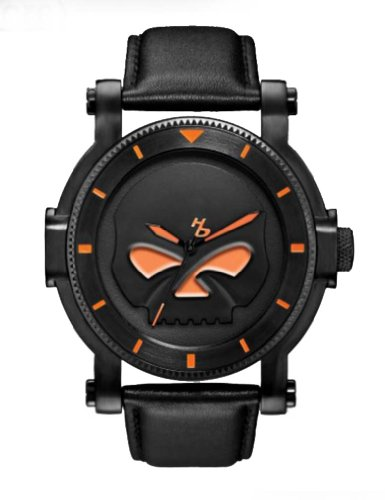 Harley-Davidson Men's Bulova Black Willie G Skull Wrist Watch 78A114