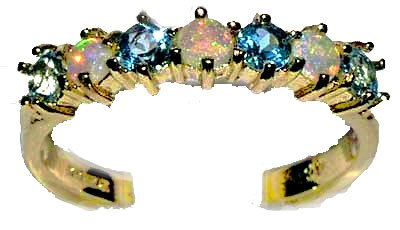 14K Yellow Gold Ladies Colorful Fiery Opal & Blue Topaz Anniversary Eternity Ring - Size O 1/2 - Finger Sizes L to Z Available - Ideal gift for for Christmas, Birthday, Valentines or Mothers Day