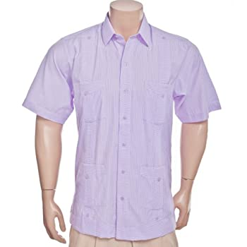 Deluxe Short sleeve white-new lavender stripped Guayabera Shirt