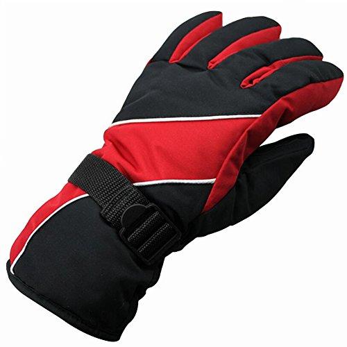 IKuaFly Guanti da Sci Impermeabile a Prova di Vento Gancio di Collegamento - Invernali Moto Cotone Vello Neve Outdoor Gloves (rosso)
