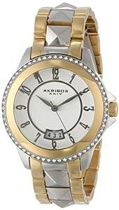 Akribos XXIV Women's AK654TTG Impeccable Swarovski Crystal Accented Gold-Tone and Silver-Tone Pyramid Stainless Steel Bracelet Watch