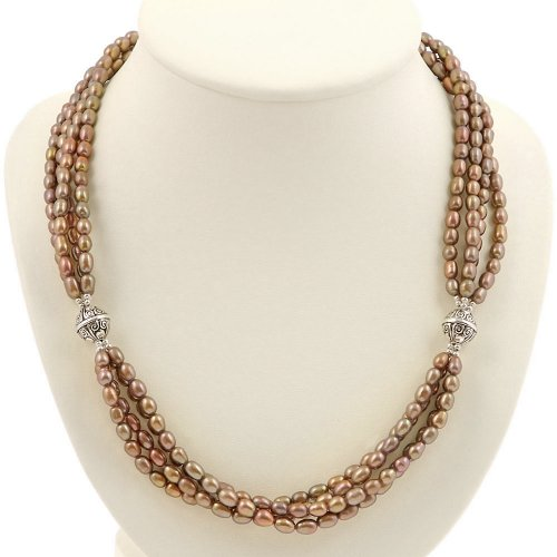 EXP Handmade Gold Pearl Necklace With Antiqued Silver Beads