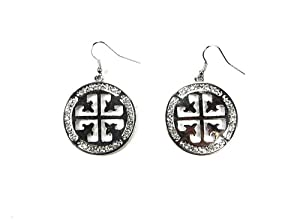 Women Fashion Designer Inspired Silver Symbol With Crystal Rhinestone Dangle Earrings