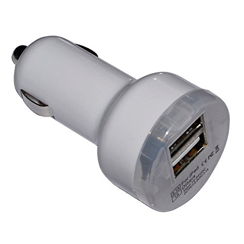 Dkx Hot New Car Charger Adapter For Aplle Ipad2 Samsung Apple Iphone 4 4G 4S 5 5G 5S Htc Dual 2 Usb Port-White