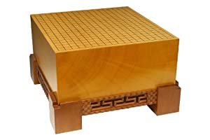 Go Board: Single Piece Kaya Go Board with Hand Carved Cinnamon Wood Base 7.1''