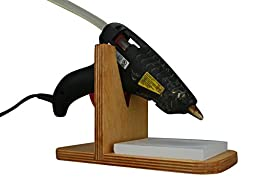 Alpha Routers Hot Glue Gun Stand with Non-stick Tile (Golden Oak Stain)