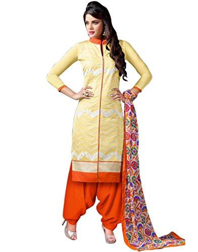 The Fashion World Orange Chanderi Cotton Embroidery Worked Dress Materials