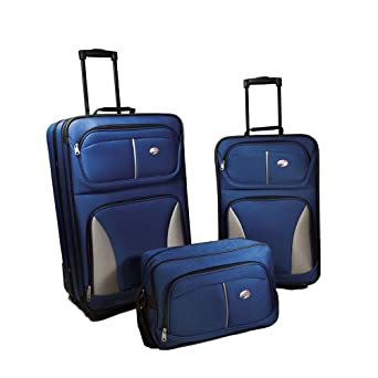 American Tourister Luggage Fieldbrook Three Piece Set Bag, Cobalt Blue, 3 Piece Nested Set