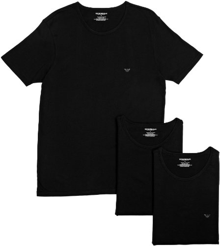 Emporio Armani - Maglietta, colletto tondo, pacco da 3, uomo, nero (Black), L