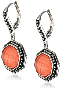"""Judith Jack """"Mini Octagons"""" Sterling Silver, Coral and Marcasite Drop Earrings"""