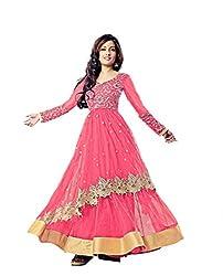 Fashion Fire Women's Pink Net Zari Work Anarkali Unstitched Dress Material