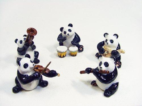 陶製 パンダの楽隊