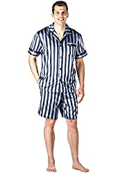 Noble Mount Mens Premium Satin Short Pajama Set - Grey/Navy