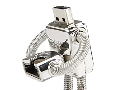 Stainless Steel ROBOT High Speed USB 2.0 High Speed Flash Pen Drive Disk Memory Stick Support Windows and Mac OS Shock Proof Metallic Body with Key Ring and Belt Loop Great Gift (Ricco 01-023)