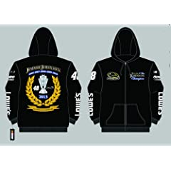 Jimmie Johnson 2013 6-Time Champion Screen Print Zip-Up Hooded Sweatshirt Medium by J.H. Design