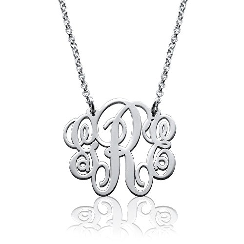 Fancy Sterling Silver Monogram Necklace - Custom Made with Any Initial! (18 Inches) (Custom Jewelry Necklace compare prices)